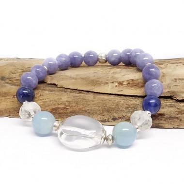 Calcite bleue, cristal de) roche, sodalite et aigue-marine