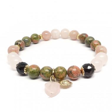 Unakite, quartz fumé, quartz rose et pierre de lune rose. Bracelet de la fertilité