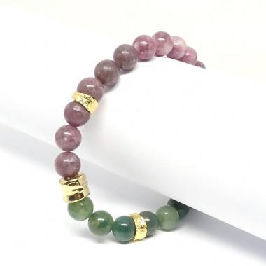 Lépidolite et agate mousse, Bracelet extensible