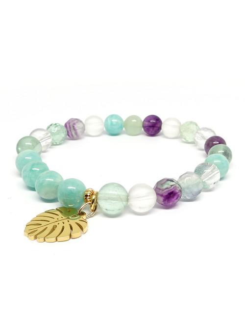 Bracelet extensible en pierre de jaspe et onyx noire mate