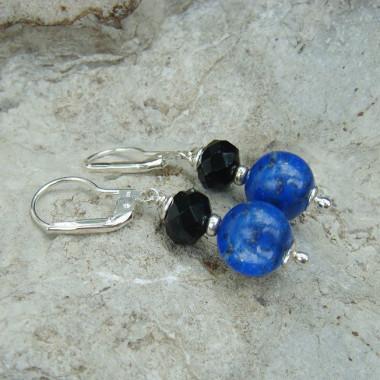 Boucles d'oreilles lapis lazuli et swarovski noir