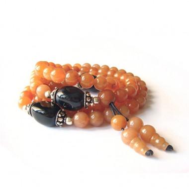 "Bracelet ""rosary"" aventurine  orange et onyx"