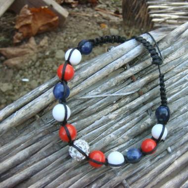 Bracelet shamballa corail, agate blanche et lapis lazuli