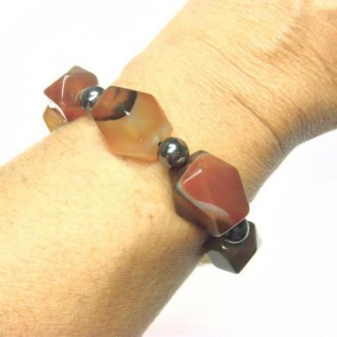 Bracelet cornaline et hématite