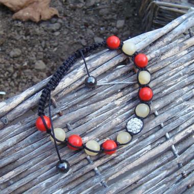 Bracelet shamballa corail et jade jaune