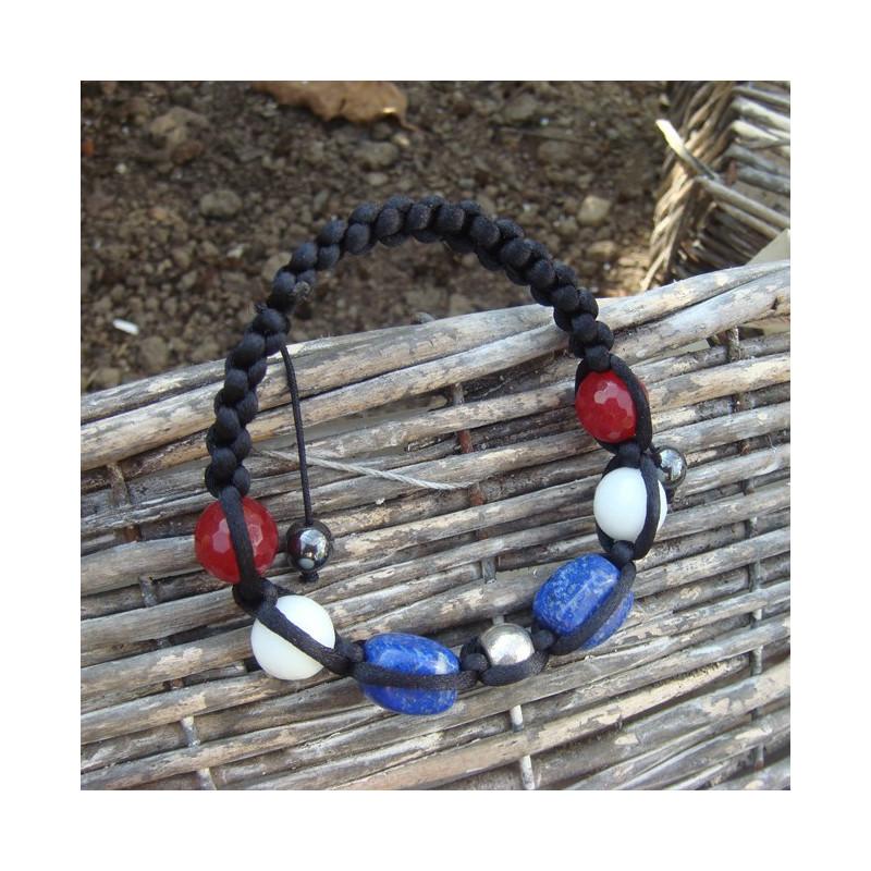 Bracelet shamballa lapis lazuli, agate rouge et blanche