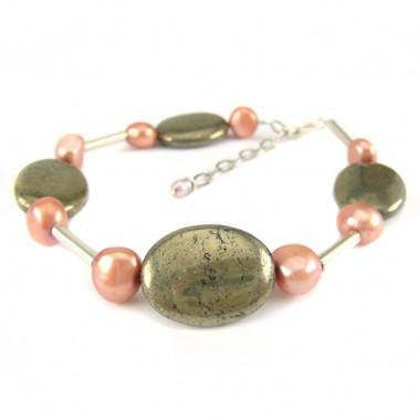Bracelet en pyrite et biwa