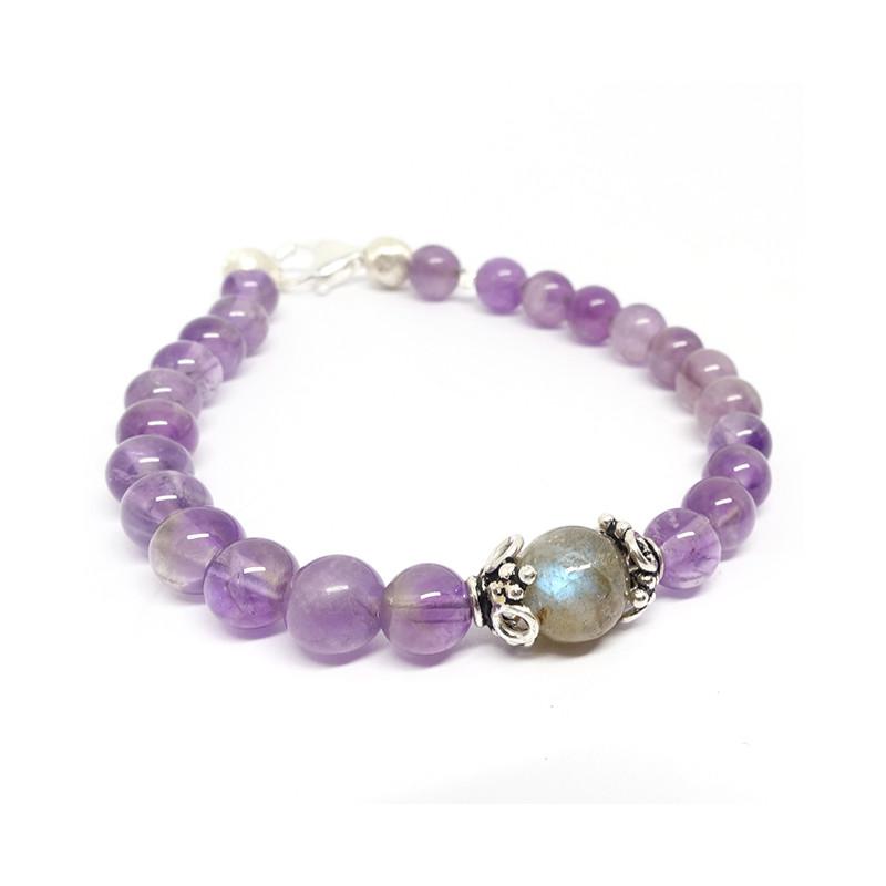 Bracelet Améthyste et une perle de Labradorite
